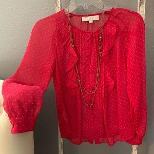 Loft bright pink star print sheer ruffle blouse